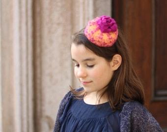 Fuchsia Lace Girls Mini Beret Hat, Girls Photo Prop, Pink Little Girls Fashion Lace Headband, Girls Tea Party Accessories, Girls Mini Hats