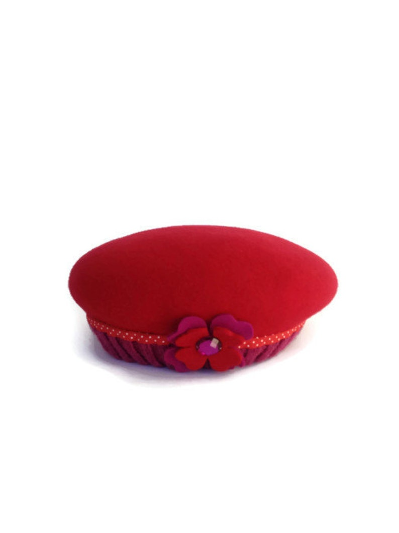 4339849cc4dea Little Girl s Red French Beret Wool Children s Felt