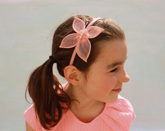 Butterfly Headband for toddlers, Pink Peach Butterfly, Girls Hair Accessories, Special Occasion, Party Outfit, Wedding girl hair
