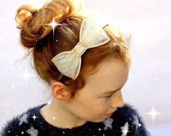 Gold Mesh Large Bow Headband Little Girls Hair Band Sparkly Hairband Girls Special Occasion Cute Sparkly Bows