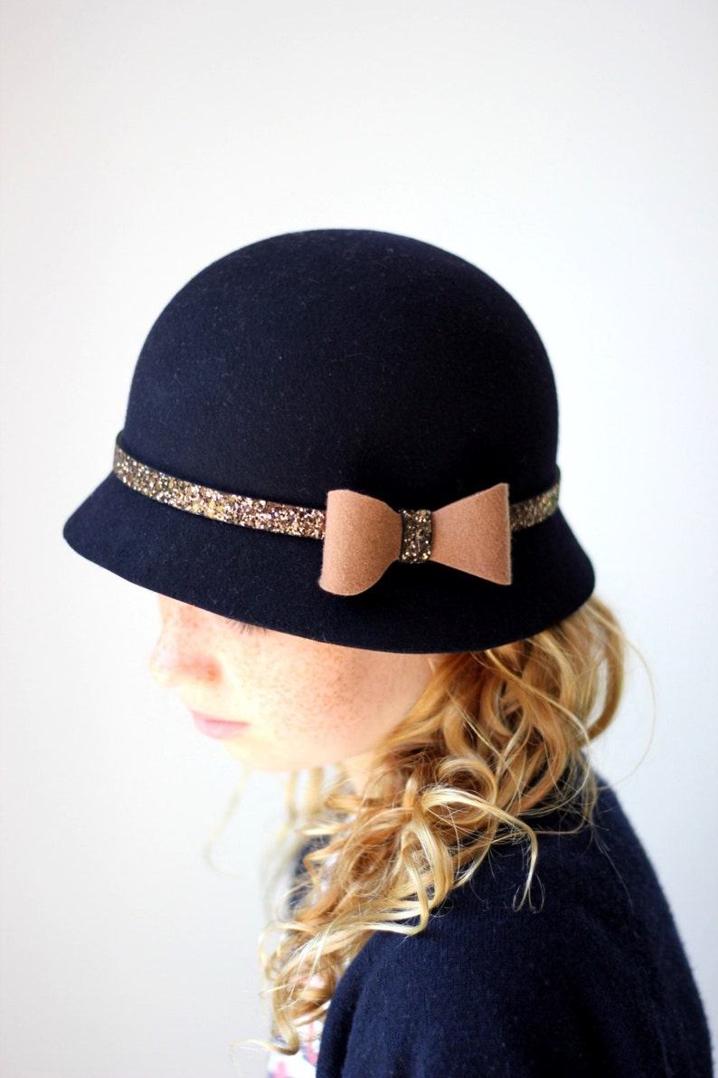 Classic Navy Blue Girl s Cloche Hat Toddler Winter Hat  108c4e06c4d