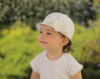 Wedding Hats for Girls, Fancy Ivory Hat with Flowers, Baby Girl, Little Girls Tea Party, Baptism, Special Occasion, Custom Made