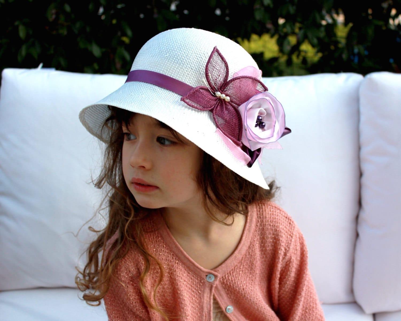 Little Girls Hat with Flower Childrens Summer Hat Kids  c137315ab0d