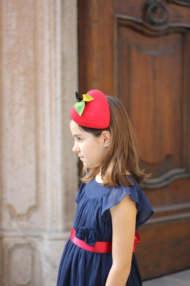 41b4457a69659 Red Strawberry Beret Girls Little Girls Mini Top Hat Girls