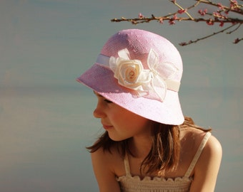 Pink Little Girls Hat with Flower, Girls Tea Party Hat Special Occasion Wedding Hat for Girls, Childrens Summer Hat, Toddler Girl Spring Hat