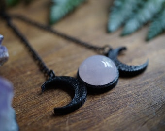 Triple Moon Goddess and Rose Quartz Necklace - Moon Necklace - Moon Phase Necklace