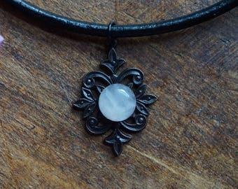 Rose Quartz Necklace - Boho Layering Necklace - Mandala Necklace - Crystal Choker