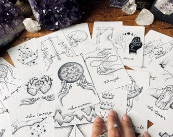 The Wandering Moon Tarot Deck - Divination Tools - Tarot Card  - Witchy Decor - Metaphysical - Altar - Tarot Art