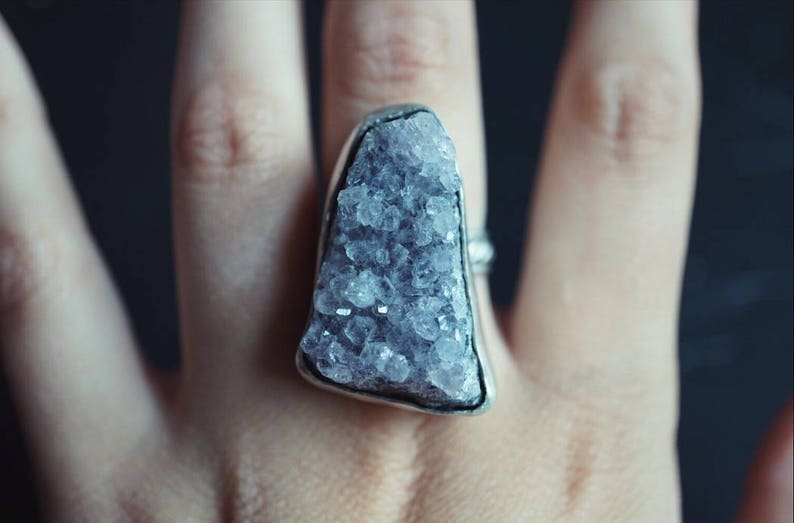 Raw Amethyst Sterling Silver Ring - One of a Kind - Large Crystal Ring Size  9 5 Handmade - Boho Rings - Amethyst Jewelry - Gypsy Rings
