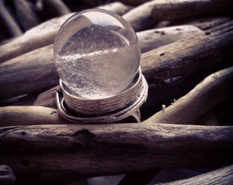 Clear Quartz Crystal Ball Ring - Statement Ring - Witchy Jewelry - Crystal Adjustable Ring