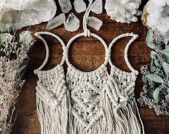 Crystal Moon Wall Hanging - Moon Wall Hanging - Triple Moon Goddess  -  Witchy Decor - Moon Phases - Celestial Decor - Boho -