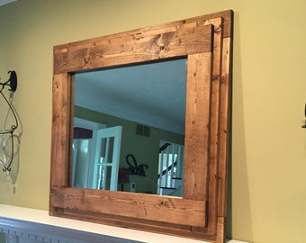 the farm house mantel vanity bathroom mirror handmade rustic inspired wooden mirror with a thick frame perfect for over the fireplace - Rustic Bathroom Mirrors