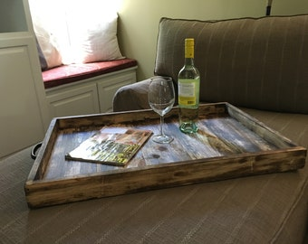 Merveilleux Large Handmade Rustic Wooden Ottoman Tray / Serving Tray / Table Decor