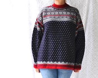 7881f8af5fb30f 90s Snowflake Wool Sweater