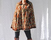 1960s Sweater Poncho with Buttons Mod Sweater Cape. Hippie Poncho. Retro 70s Bohemian Poncho Sweater. 60s Knit Poncho. 60s Poncho Shawl