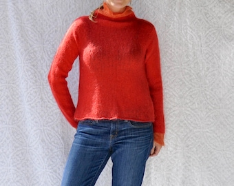 Hand Knit Margaret O'Leary Sweater || 90s Vintage Mohair Sweater. 1990s Sweater. Red Knit Jumper. Mock Neck Sweater. 90s Turtleneck Sweater