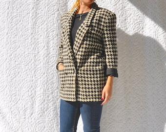 Designer Giorgio Sant' Angelo Blazer | Retro Vintage Jacket. Black & White Houndstooth Blazer. 80s Vintage Blazer. Checker Board Jacket | M
