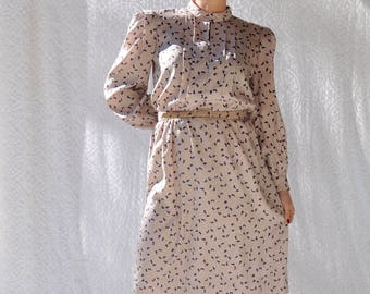70s Dress Tony Ruocco for Alper Schwartz at Foulke & Foulke New York | 1970s Mod Shirtdress. Butterfly Pin Up Day Dress. 70s Secretary Dress