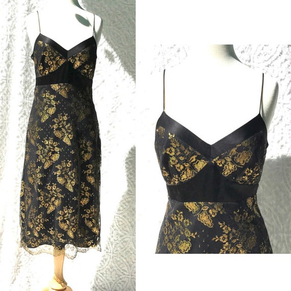 90s Betsey Johnson Dress Metallic Gold Flowers And Black Lace Etsy