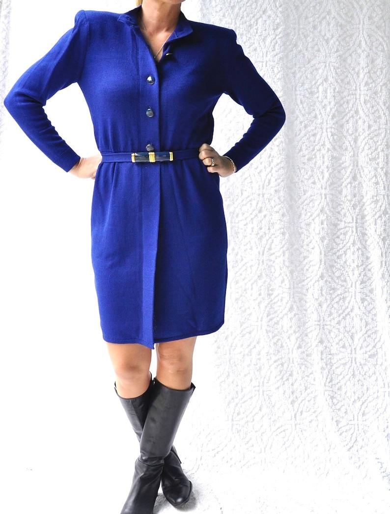 9467501744a Vintage St. John Knit Dress 80s Royal Blue Sweater Dress.