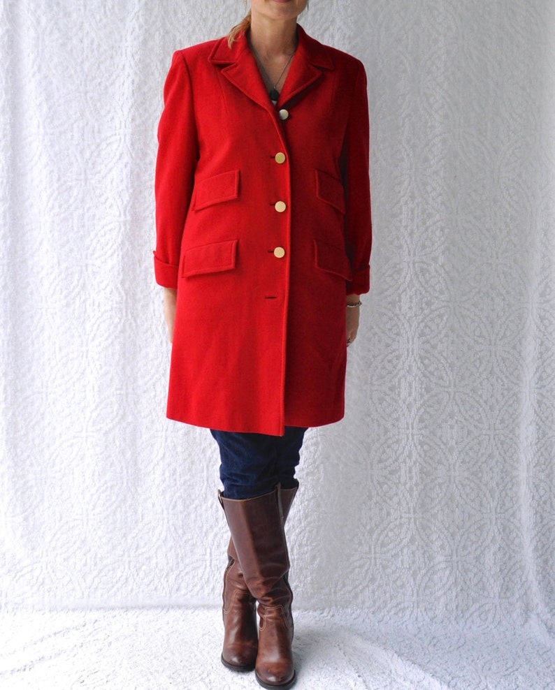 d65acf0bf179e Vintage 1950s Red Wool Coat by Designer Cari Colette Womens