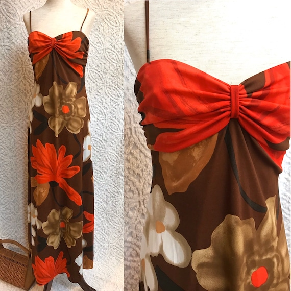 Designer 1970s Anne Fogarty Dress | 70s Maxi Sundr