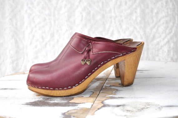 70s/80s Mia Red Leather Clogs with Wood Heel and P