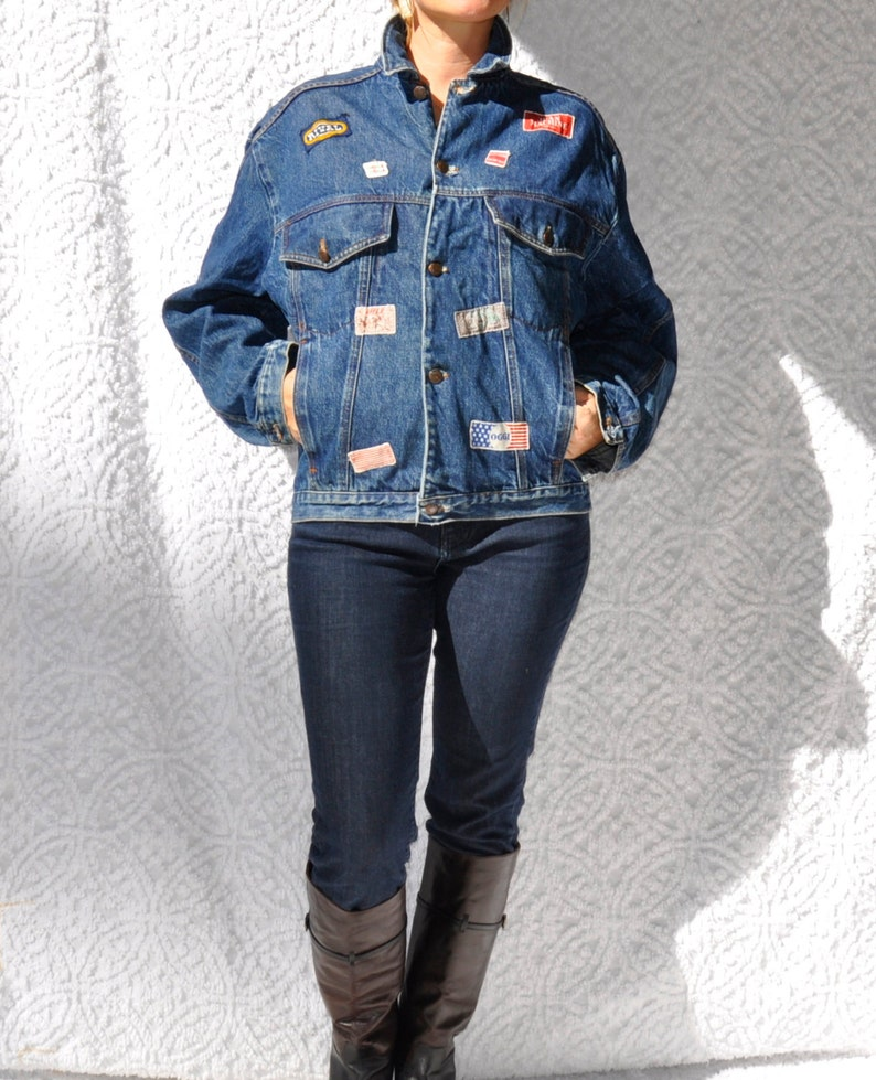 80s Jean Jacket with Patches | Dark Denim Jacket | Retro 80s Street Wear Crop Jean Jacket | 1980s Vintage Denim Jacket | Jacket with Patches