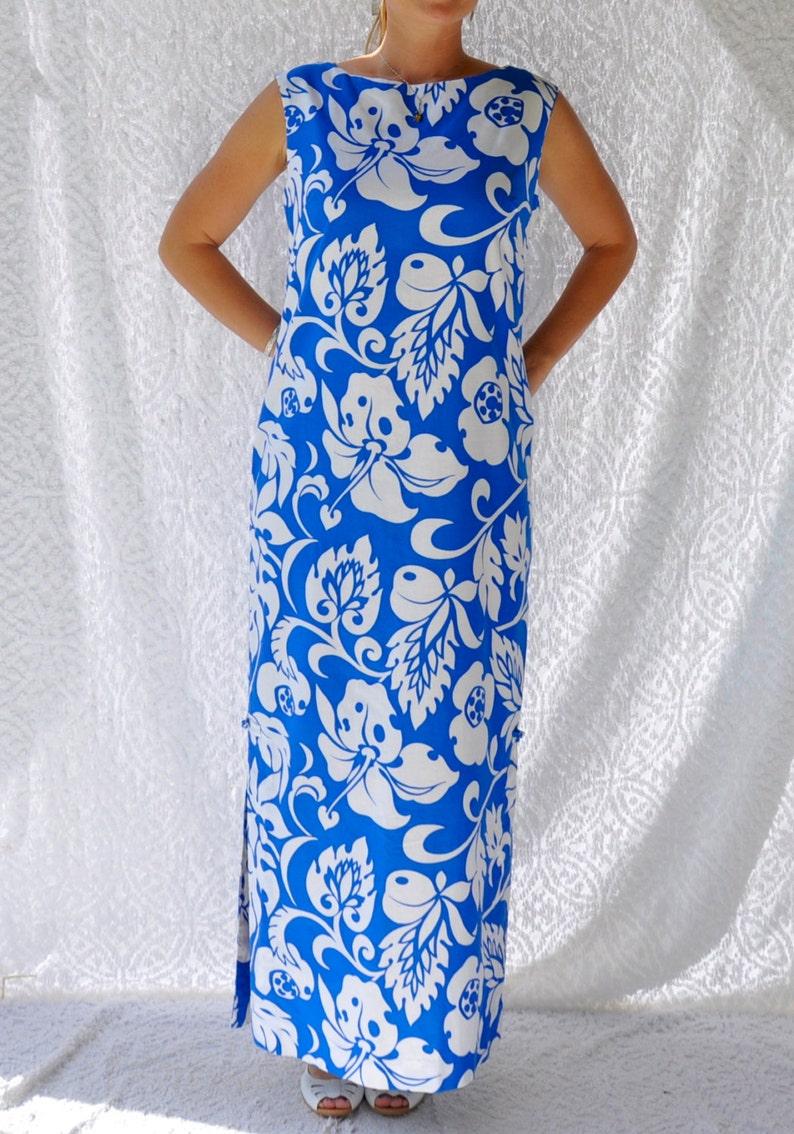 1d2f2814a8ec 70s Hawaiian Dress Made in Hawaii Blue Hawaiian Tropical | Etsy