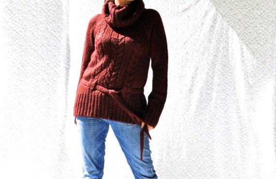 Vintage Cowl Neck Sweater w. Tie Belt Boho Cable Knit  0acb6c545