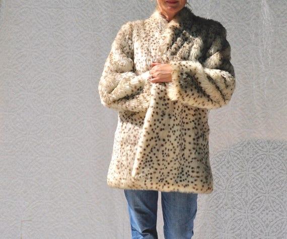 PochesLuxe De Imprimé LéopardPin En Des Avec Soyeuseamp; Fausse S Style70 Manteau Up Fourrure Années 1970 Doublure cJTlF1K