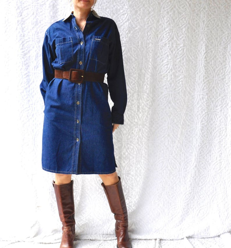 3c0cc2bd55f Vintage Calvin Klein Denim Dress. Corduroy Collar   Pockets
