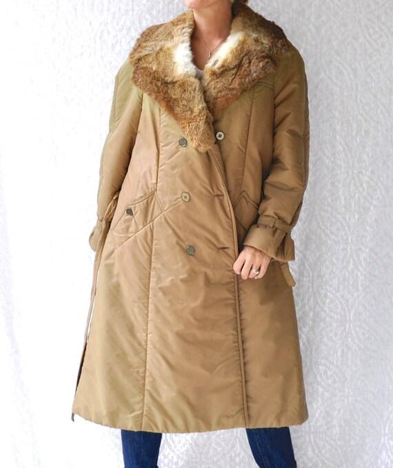 1970s Fur Collar Trench Coat || Rabbit Fur Long Pu