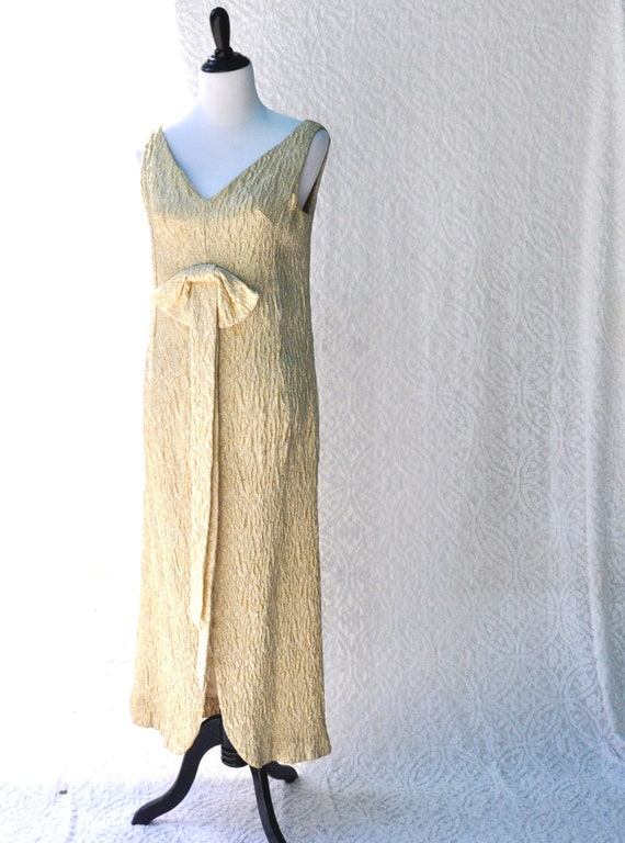 70s Handmade Dress Evening Wear | Metallic Gold Pa