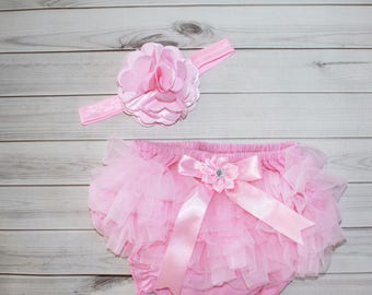 PINK RUFFLED DIAPER Cover-Baby girl photos-newborn-Diaper Cover Set-Newborn Photos-Baby Bloomer-Ruffle Diaper Cover-Shabby Chic-Photo Prop