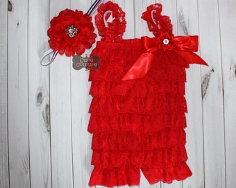 cd3fab36778 RED ROMPER SET-Red Lace romper