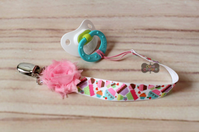 Boutique Style-Pacifier Clip-Baby Girl Pacifier Clip-Universal Pacifier Clip-Paci Clip-Chic-Cupcake-Birthday Paci Clip-Binky Holder