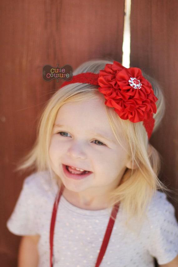 Christmas Xmas Baby Girl Headband Hairband Satin Bow Rhinestone Lace Headband