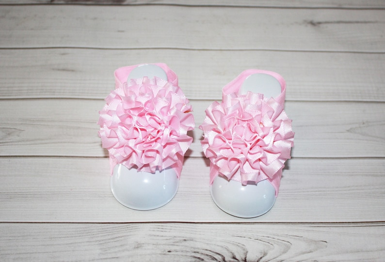 Barefoot Shabby First Newborn Blooms Sandal Shoes Baby Toe Infant Footies Girl Elastic Sandals SpzVMGqU