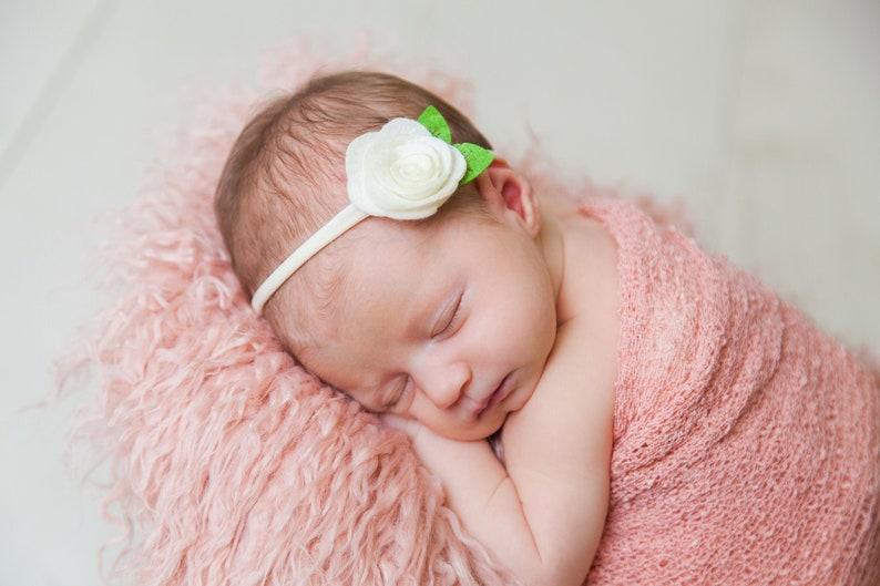 Soft nylon headband handmade headband. baby head bands infant headbands Mint baby headband Mint nylon headband satin flower headband