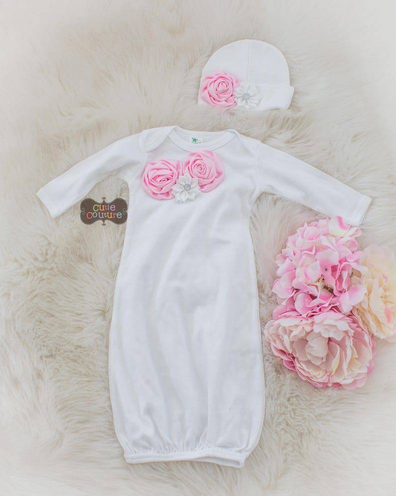 BOUTIQUE STYLE-Take Me Home-Hospital Gown-Baby Girl Layette Set-Photo Prop-Baby Girl Outfit-Newborn Girl Outfit-Coming Home Outfit-New baby