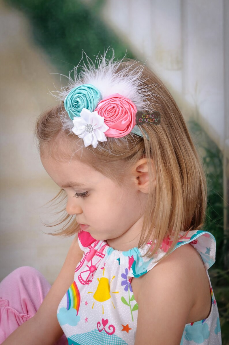 MORE COLORS-BOUTIQUE Style-Shabby Chic-Aqua-Pink-Baby Girl-Elastic Headbands-Infant Headband Sets-Baby Bands-Glitter-Feather Headbands