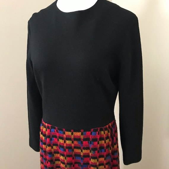 Vintage 60s Knit Woven Black Rainbow Long Sleeve … - image 8