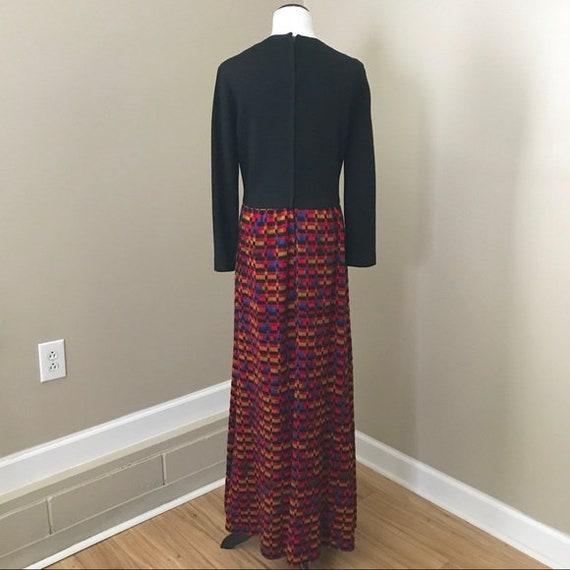 Vintage 60s Knit Woven Black Rainbow Long Sleeve … - image 6