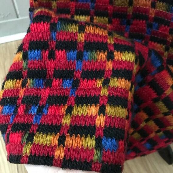 Vintage 60s Knit Woven Black Rainbow Long Sleeve … - image 7