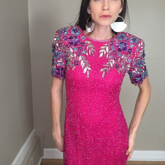 Vintage 80's Pink Sequins Beaded Sheath Dress