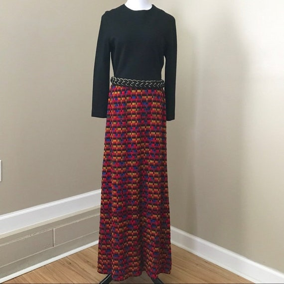 Vintage 60s Knit Woven Black Rainbow Long Sleeve … - image 1