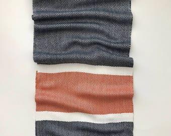 Scarf; Auburn Scarf; Orange and Navy Blue Scarf; Handwoven Bamboo Scarf