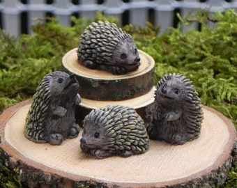 Fairy Garden accessories Miniature Hedgehog ONE  - terrarium supplies - miniature animals for diorama - craft supply - accessory