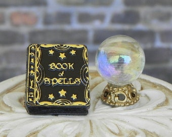 Halloween Miniatures Book 'crystal' ball, miniature Book of Spells book, dollhouse miniatures